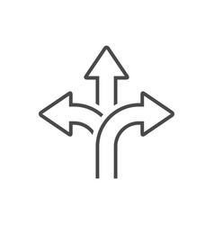 Three-way direction arrow icon vector