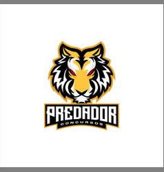 Tiger head e sports logo design vector