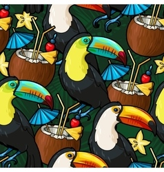 Toucan and cocktail vector