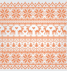 traditional red nordic pattern with deer vector image