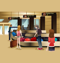 Travelers waiting for their baggage vector