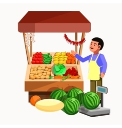 Vegetables and fruits product seller at the vector