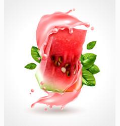 Watermelon splash realistic composition vector