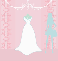 Wedding dress salon and woman silhouette vector