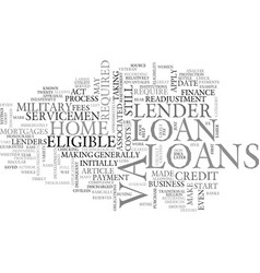 What are va loans text word cloud concept vector