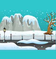 winter landscape with snowy rocks and snow on the vector image