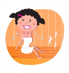 Woman in sauna vector vector