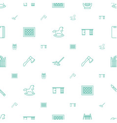 Wooden icons pattern seamless white background vector