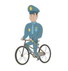 Young hispanic police officer on bicycle vector
