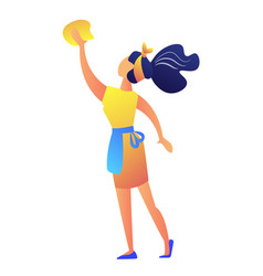 young housewife cleaning vector image
