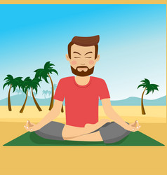 young man doing yoga on a mat at tropical beach vector image
