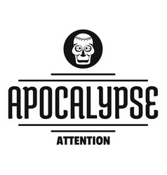 Zombie apocalypse logo simple black style vector