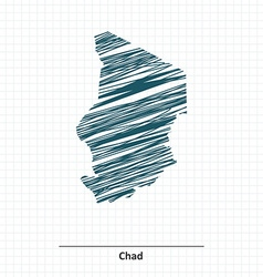 Doodle sketch of Chad map vector image