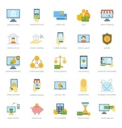 Finance safe card banking icons set credit cash vector image