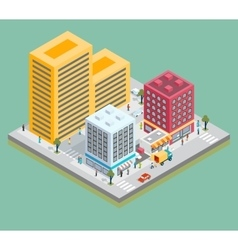 Isometric city center map with buildings shops vector image