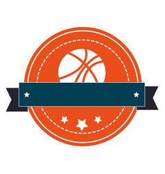 silhouette color emblem with basketball ball and vector image