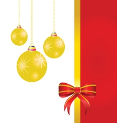 bow red with christmas ball vector image vector image