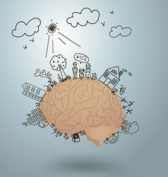 ecology concept creative drawing on brain vector image