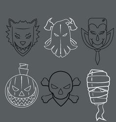 Faces Halloween vector image vector image