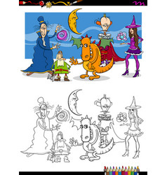 Fantasy characters coloring page vector