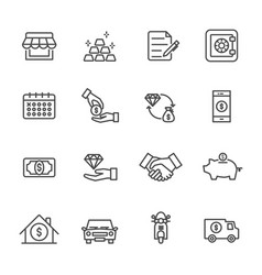 pawnbroker pawn shop icons set of thin line icons vector image