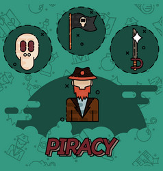 piracy flat concept icons vector image vector image