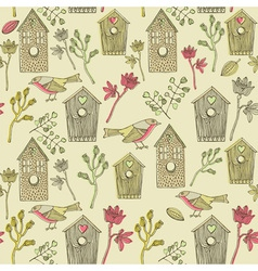 Retro Bird House Pattern vector image vector image