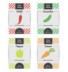 colorful design set of vegetable labels vector image