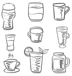 doodle drink set hand draw vector image vector image