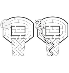 easy basketball maze vector image vector image