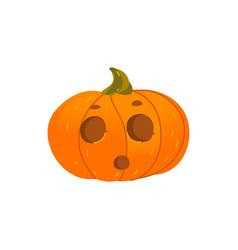 halloween pumpkin lantern with surprised face vector image