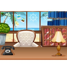 Office with ocean view from the window vector image