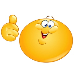 fat emoticon with thumb up vector image