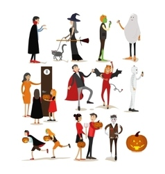 Happy halloween holiday party characters isolated vector