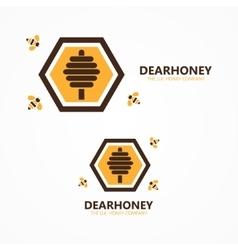 honey and bee logo vector image