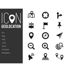 Map Icons and Location Icons with White Background vector image vector image