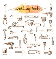 set of working tools doodle sketch vector image