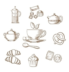Tea and dessert pastry sketch vector image