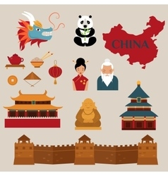 Travel to China icons vector image vector image