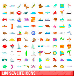 100 sea life icons set cartoon style vector