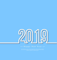 2019 white 3d numbers with shadow on blue vector image