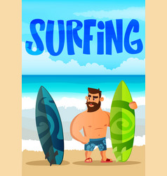 bearded man surfer hand drawn lettering vector image