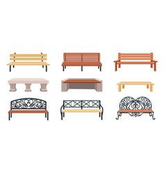 bench cartoon wooden outdoor chair street vector image
