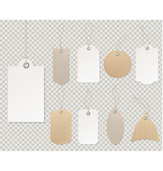 blank price tags paper tag template labels vector image