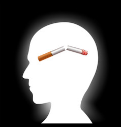 broken cigarette inside the human head harmful vector image