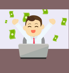 businessman glad to earning money from online vector image