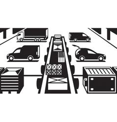 Cargo handling in warehouse vector