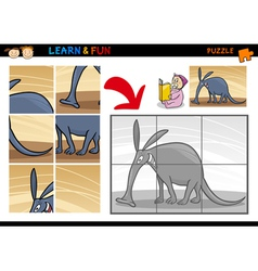 Cartoon aardvark puzzle game vector image