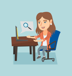 caucasian woman searching information on a laptop vector image