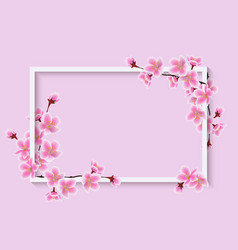 cherry blossom spring flower frame with realistic vector image